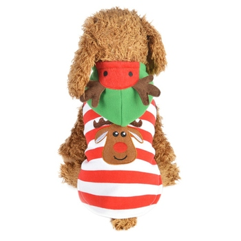 Pet Dogs Warm Coat Christmas Cotton Costume for Christmas Puppy Red Stripes Elk Hoodie Coat